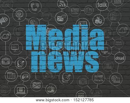 News concept: Painted blue text Media News on Black Brick wall background with Scheme Of Hand Drawn News Icons
