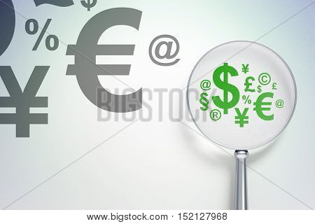 News concept: magnifying optical glass with Finance Symbol icon on digital background, empty copyspace for card, text, advertising, 3D rendering