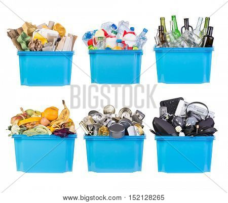 Recycling bins with paper, plastic, glass, metal, organic and electronic waste isolated on white background