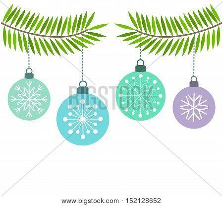 Christmas blue baubles ornaments background. Vector illustration