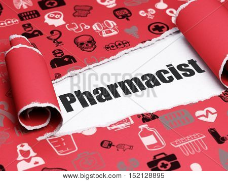 Health concept: black text Pharmacist under the curled piece of Red torn paper with  Hand Drawn Medicine Icons, 3D rendering