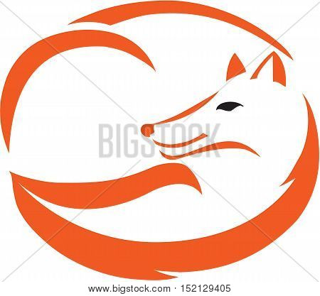 Stylized red fox in snuggles and cuddling up