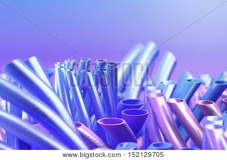 Abstract blue colored blurred background with tubes. 3d rendering