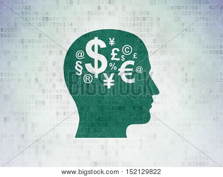 Marketing concept: Painted green Head With Finance Symbol icon on Digital Data Paper background