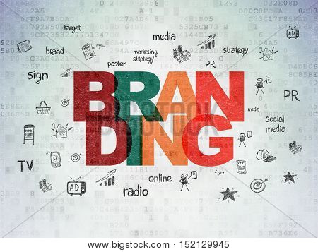 Marketing concept: Painted multicolor text Branding on Digital Data Paper background with  Hand Drawn Marketing Icons