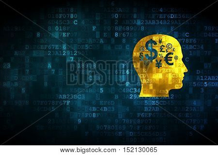 Advertising concept: pixelated Head With Finance Symbol icon on digital background, empty copyspace for card, text, advertising