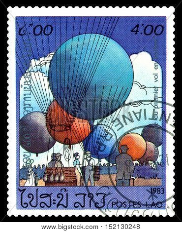 STAVROPOL RUSSIA - October 17 2016: a stamp printed in Laos shows the first balloons various balloons cirka 1983