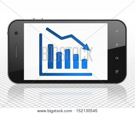 Marketing concept: Smartphone with blue Decline Graph icon on display, 3D rendering