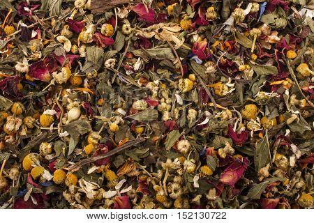 some dry organic summery herbal blossom tea