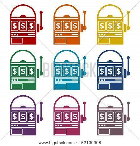 Slot machine icons set on white background