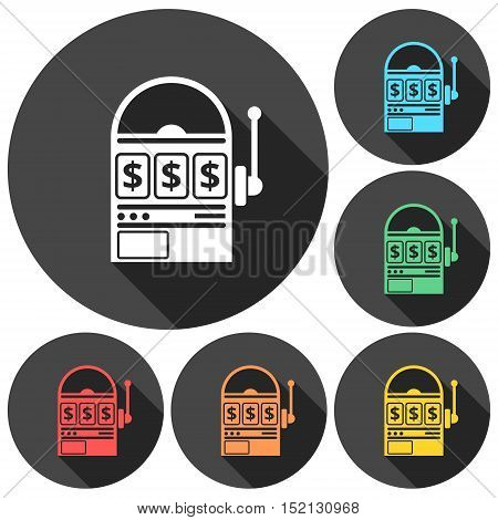 Slot machine icons set with long shadow