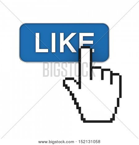 hand cursor pointer 3d rendering and like button