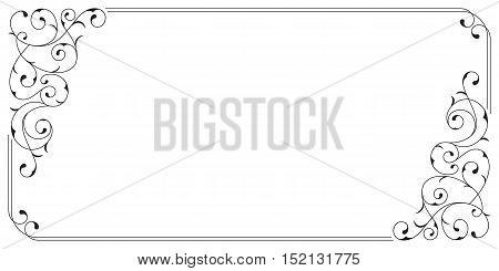 Ornate black rectangular border for card and invitations