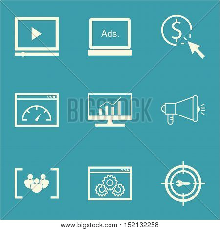 Set Of Seo Icons On Video Player, Ppc And Website Performance Topics. Editable Vector Illustration.