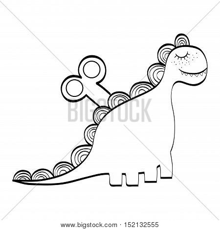 dino animal toy over white background. drawn design. vector illustration