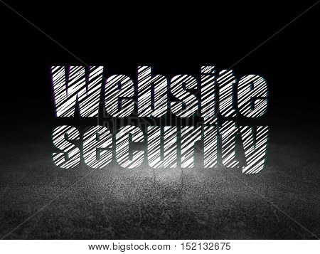 Web design concept: Glowing text Website Security in grunge dark room with Dirty Floor, black background