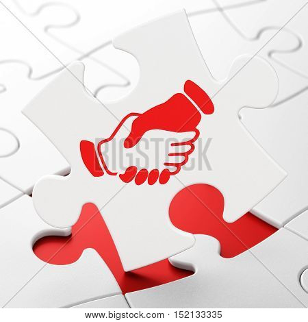 Finance concept: Handshake on White puzzle pieces background, 3D rendering