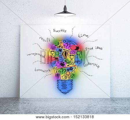 Room with colorful light bulb sketch on whiteboard. Creative idea concept. 3D Rendering