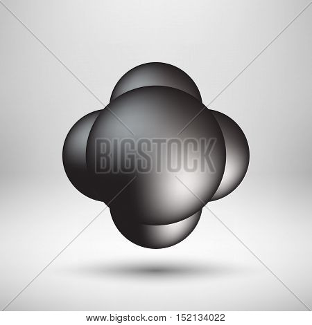 Black premium bubble badge, button template with realistic shadow, reflex and light background for logo, design concepts, banners, posters, web, UI, applications, apps, prints. Vector illustration.