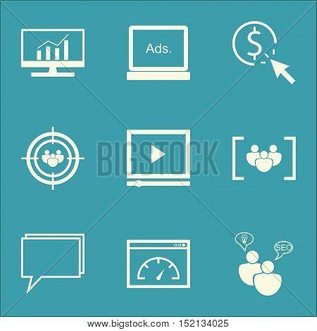 Set Of Marketing Icons On Digital Media, Loading Speed And Focus Group Topics. Editable Vector Illus