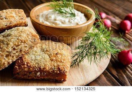 Curd Spread With Egg, Onion, Mustard And Dill