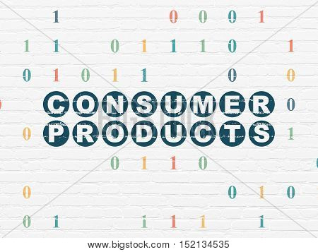 Finance concept: Painted blue text Consumer Products on White Brick wall background with Binary Code