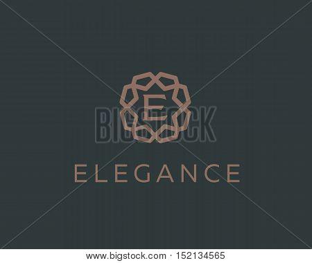 Premium letter E logo icon vector design. Luxury jewelry frame gem edge logotype. Print monogram initials stamp sign symbol