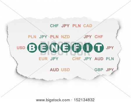 Finance concept: Painted green text Benefit on Torn Paper background with  Currency