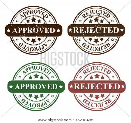 vector reject and approved stamps