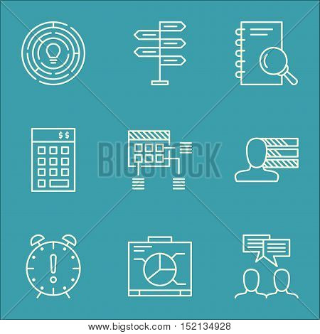 Set Of Project Management Icons On Investment, Personal Skills And Time Management Topics. Editable
