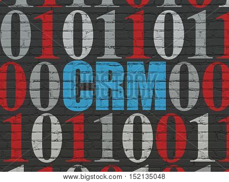 Finance concept: Painted blue text CRM on Black Brick wall background with Binary Code