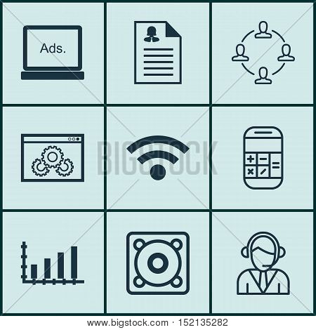Set Of 9 Universal Editable Icons For Statistics, Human Resources And Seo Topics. Includes Icons Suc