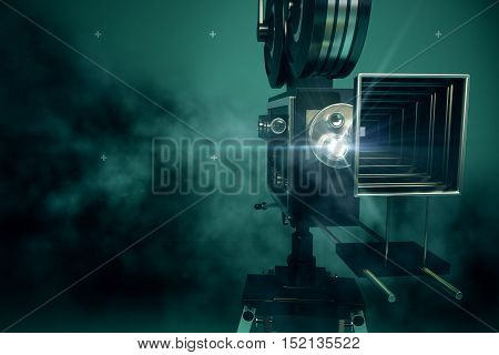Front view of retro movie projector on abstract dark background with copy space. 3D Rendering. Cinema concept