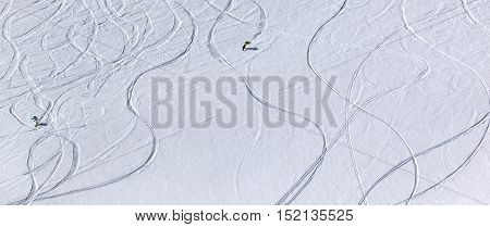 Snowboarders Downhill On Off Piste Slope