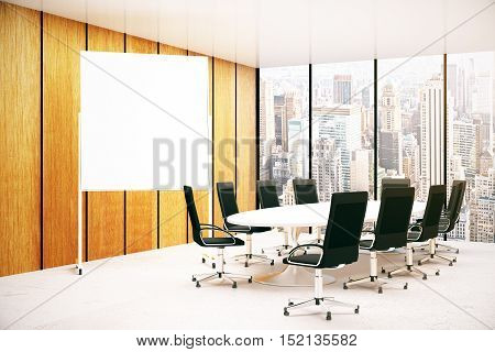 Modern conference room interior wth blank whiteboard and city view. Mock up 3D Rendering