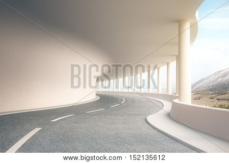 Modern road tunnel with landscape view and sunlight. 3D Rendering