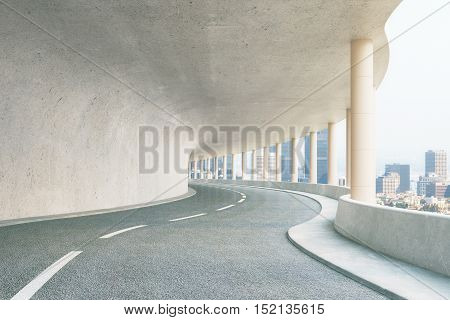 Concrete road tunnel with city view. 3D Rendering