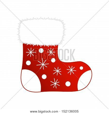 Vector illustration of shiny red Christmas stocking with cool presents. Christmas socks icon
