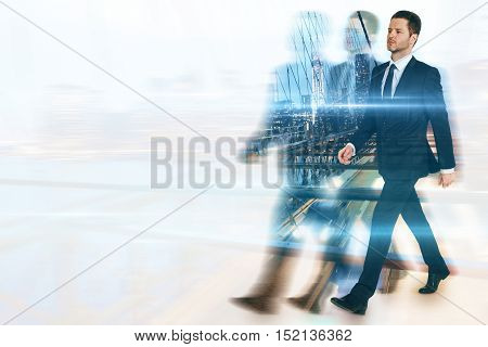 Businessperson and silhouettes walking on abstract city background with copy space. Leadership concept. Multiexposure