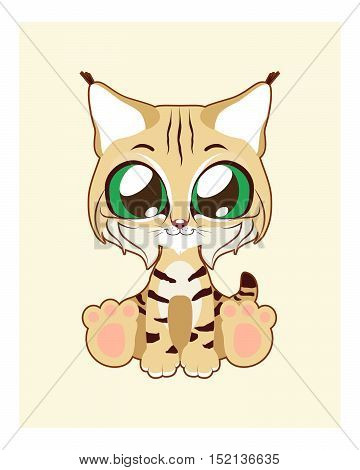 Cute bobcat illustration art with simple background
