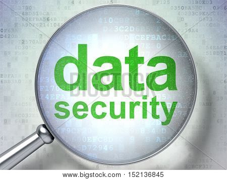 Security concept: magnifying optical glass with words Data Security on digital background, 3D rendering