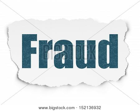 Protection concept: Painted blue text Fraud on Torn Paper background with  Tag Cloud
