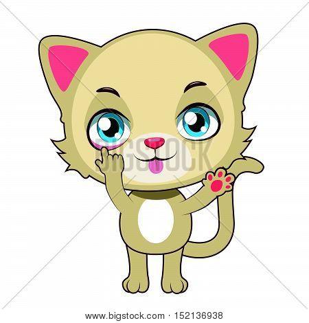 Cute yellow cat mascot taunting illustration art