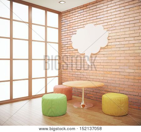 Red brick hipster interior with small coffee table seats and abstract thought cloud on wall. Mock up 3D Rendering
