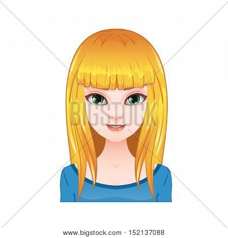 Blonde woman with long straight hair and bangs