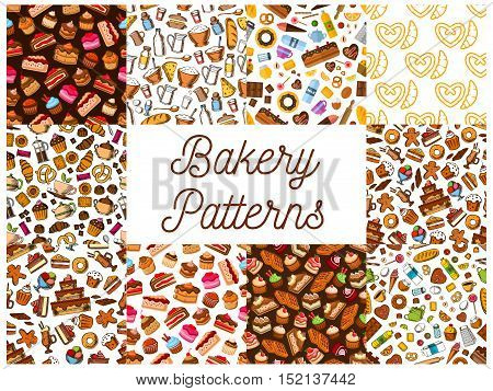 Bakery and pastry desserts seamless patterns set with chocolate and fruit cake, cupcake, croissant, donut, muffin, berry pie, cookie, candy, cheesecake and waffle, gingerbread and pretzel