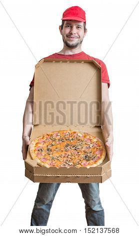 Pizza Delivery Concept. Young Man Is Showing Tasty Pizza. Isolat
