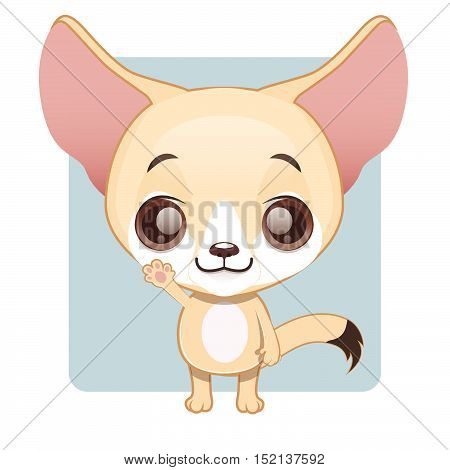 Cute fennec fox illustration art with simple background