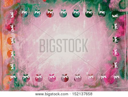 A grunge style Christmas pudding background page designed with hand painted watercolour effects.