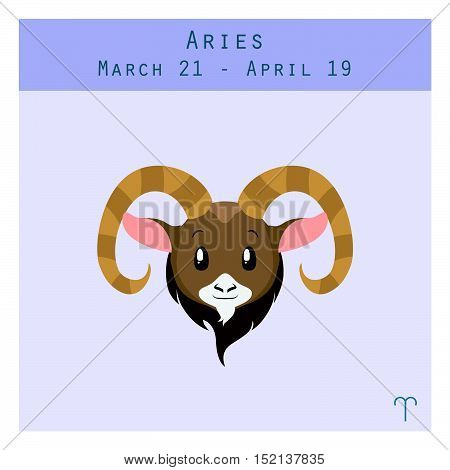 Cartoon Aries Zodiac Sign With Duration And Symbol In Lower Corner